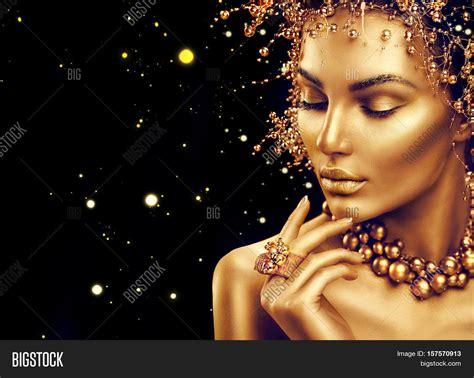 wallpaper gold lady gold woman skin beauty fashion image photo bigstock