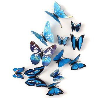3d Butterfly Decoration 2 Navy Blue Khemiko Shops 12pcs 3d blue butterfly wall stickers decals home