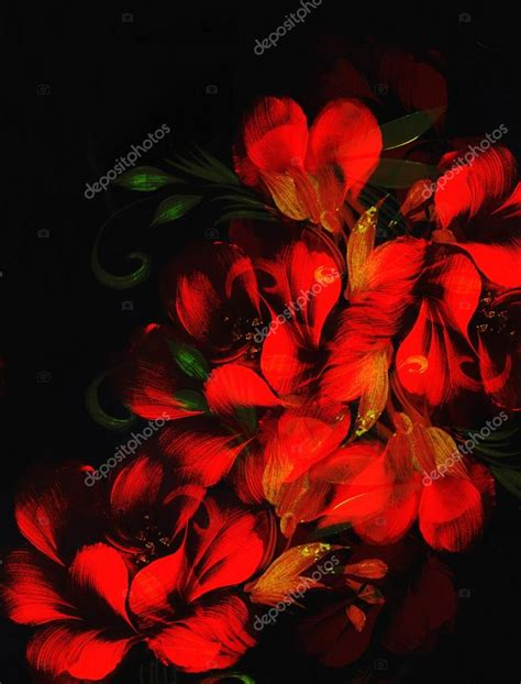 black background painting flower on black background painting and computer