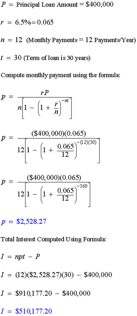 formula for mortgage amortization example amortization formula