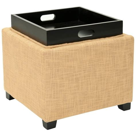 Home Decorators Collection Emma Textured Natural Storage Gold Storage Ottoman