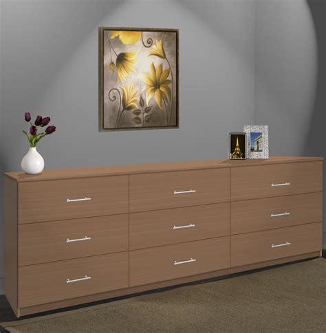 modern  drawer triple dresser  feet long contempo space
