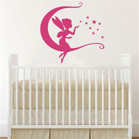 fairy wall decal sitting on moon with pixie dust stars vinyl