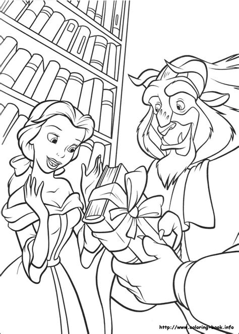 disegni da colorare della e la bestia e la bestia in biblioteca disegni della e la