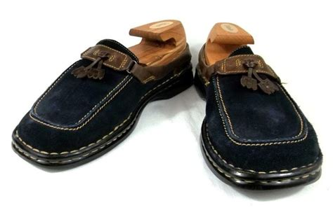 born womens loafers born loafers navy blue suede and leather slip on tassel