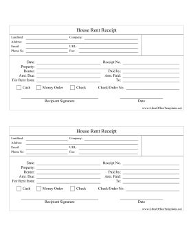 receipt template libreoffice rental house receipts