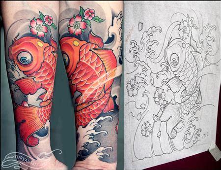 new school koi tattoo off the map tattoo tattoos new school koi fish
