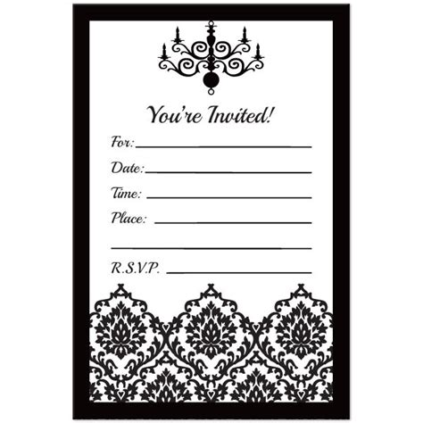 Black And White Birthday Invitation Card Template blank black and white wedding invitations templates