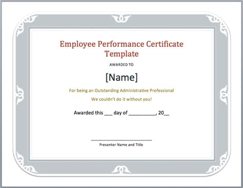 Sle Of Employment Certificate Template by Employee Performance Certificate Template Microsoft Word
