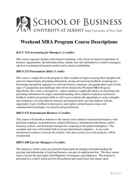 Mba Course Description by At Albany Weekend Mba Program Course Descriptions