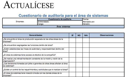 formato 350 consultorcontablecom contabilidad formato cuestionario de auditor 237 a para 225 rea de sistemas
