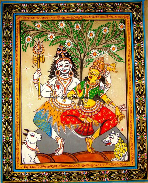 painting free play patachitra on tussar silk oriya painting lord shiva