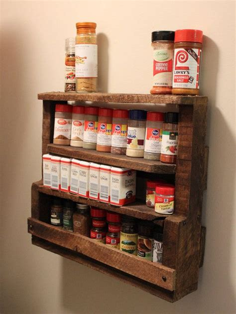 diy spice rack from wood pallet rustic pallet spice rack by redemptiverustics on etsy country decor pallet spice