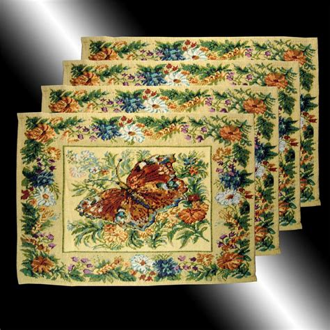 country placemats and table runners set country butterfly florals tapestry throw pillow cases