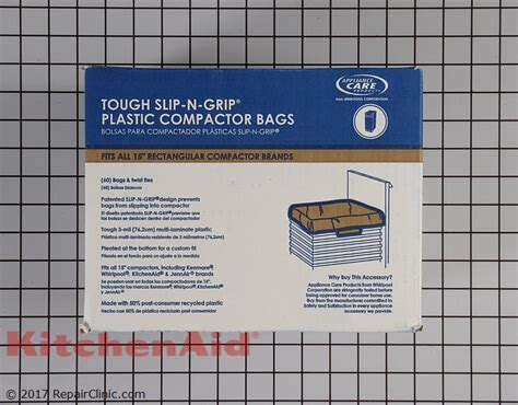 trash compactor bags w10165294rb kitchenaid replacement parts