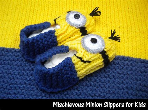 minion knitting pattern mischievous minion slippers for by auntjanet craftsy
