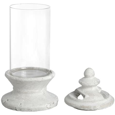 Glass Candle Base Hill Interiors Antique White Glass Candle Holder With