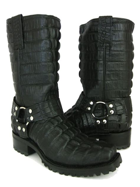 bike boots for mens s black crocodile alligator biker boots
