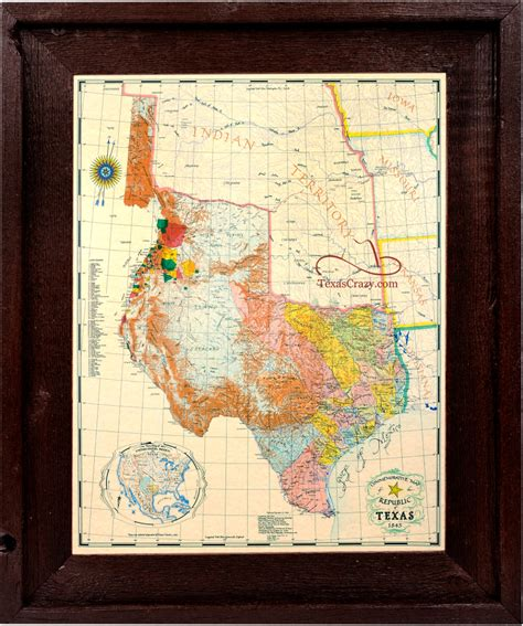 framed map of texas buy republic of texas map 1845 framed historical maps and flags home office decor