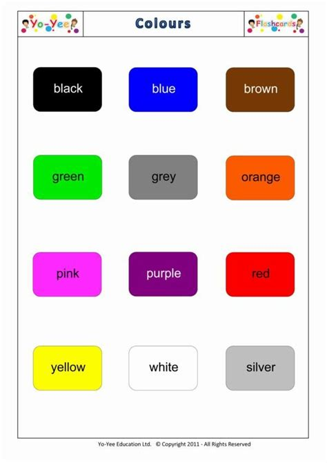 teaching colors color flashcards for vocabulary cards