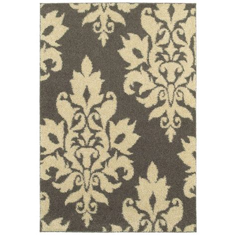 damask bathroom rug home decorators collection meadow damask gray 7 ft 10 in