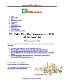 Companies Act Sections by Companies Act 1956 All Sections List
