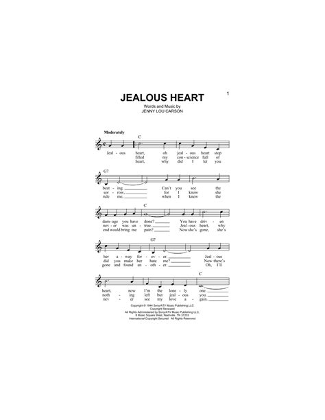 printable jealous lyrics jealous heart chords by jenny lou carson melody line