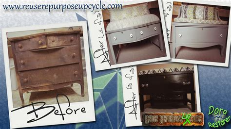 Repurpose Upcycle - before and after old dresser repurposed into benches reuse repurpose upcycle