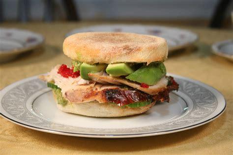 One Slice Sandwich Toaster Turkey Sandwich On An English Muffin With Mascarpone Pesto