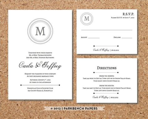 Editable Wedding Invitation Rsvp Card And Insert Card Classic Monogram Style Word Template Free Card Templates With Picture Insert