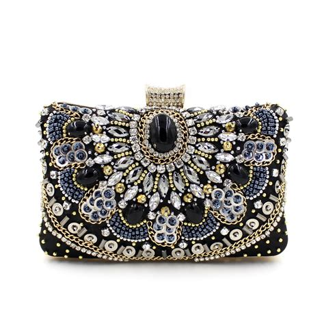 2016 handmade chian bead black evening clutch bags