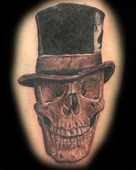 skull with hat tattoo designs top hat lawas