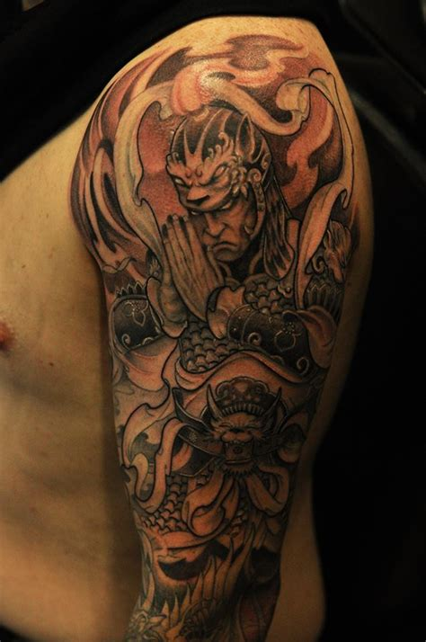 warrior half sleeve by bks chronic ink tattoo shop toronto