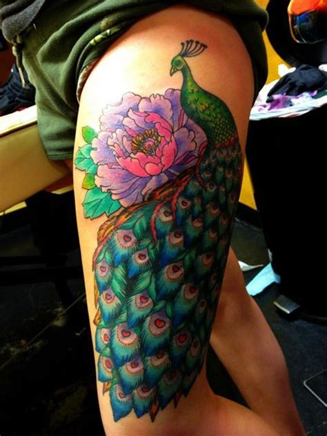 girly leg tattoos peacock thigh this is exactly how where i want mine