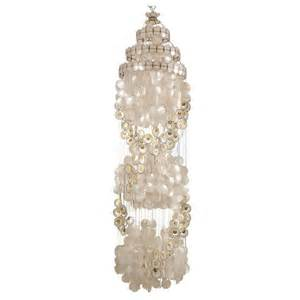 Capiz Pendant Chandelier Vintage Capiz Shell Chandelier With Gold Accents At 1stdibs