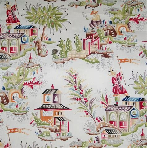 house of fabric clarence house french chinoiserie pagodas toile linen fabric multi