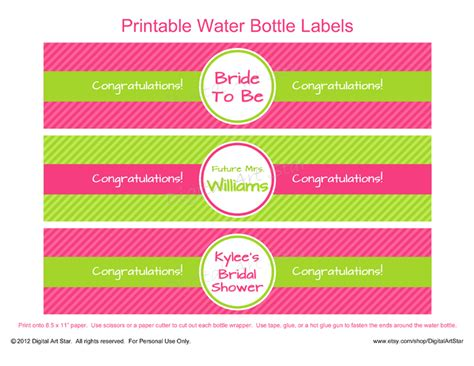 Printable Water Bottle Labels Free Templates free printable water bottle labels template