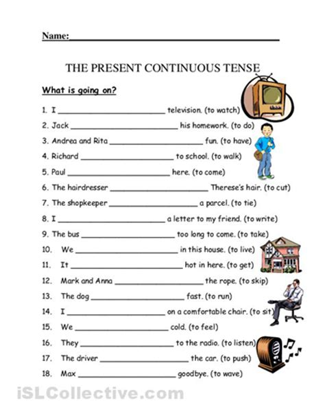 present continuous tense worksheet for kid