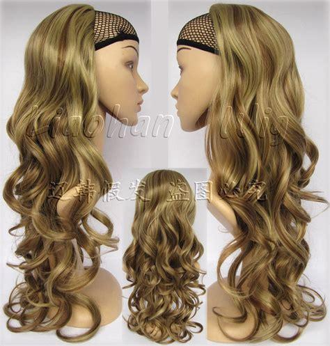 Wig Hair Extension Strike Highlight Hair fashion highlight half wig wavy wig hair fall synthetic hair 6h24 mixed brown wig
