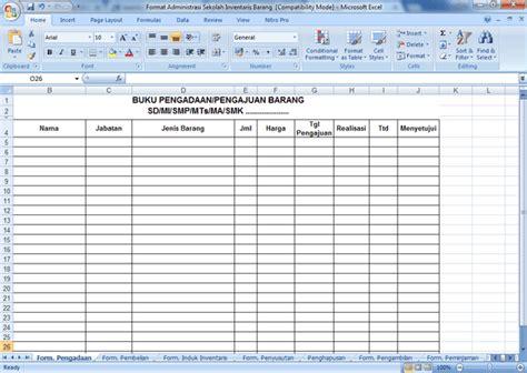 format buku inventaris kelas contoh format administrasi sekolah inventaris barang
