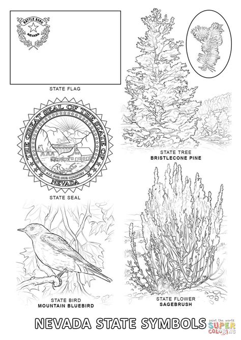 nevada state symbols coloring page free printable