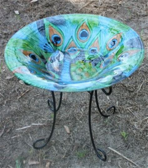 new painted glass blue green peacock decorative bowl