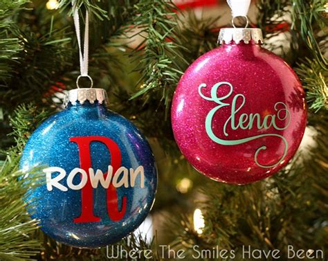 name ornaments homemade diy personalized glitter ornaments
