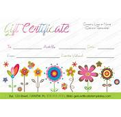 Printable Artistic Blossoms Gift Certificate Template