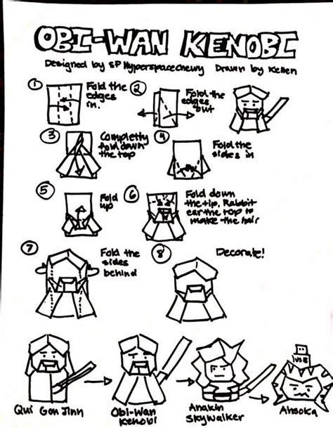How To Make Origami Yoda Finger Puppet - obi wan kenobi origami yoda