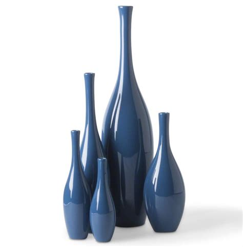 Navy Blue Floor Vase Bliss Modern Tulip Navy Sea Blue Ceramic Vases Set Of 5