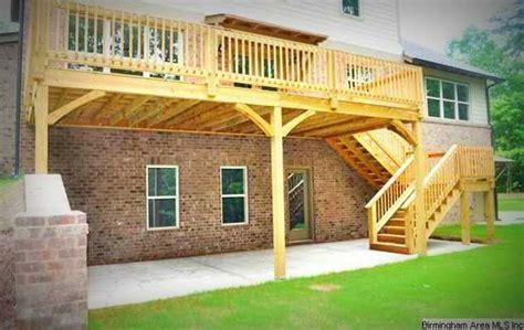 deck designs walkout basement deck above walkout