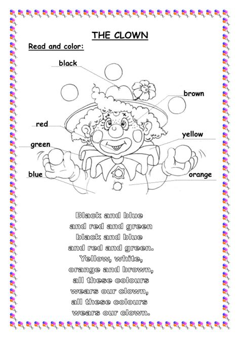 Clown Worksheets by Song Worksheet Colours Clown