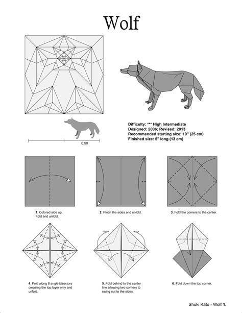 Easy Origami Wolf - origami diagram