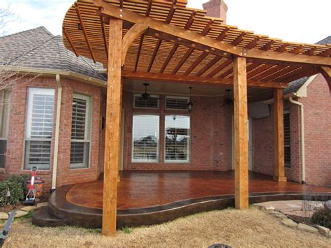 Stamped/Stained Patio with Pergola   Traditional   Patio